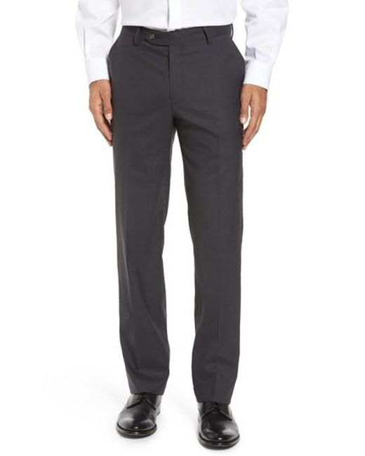 Berle | Gray Flat Front Stretch Solid Wool Trousers for Men | Lyst