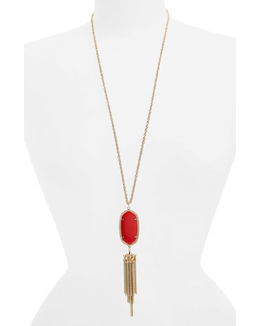 Kendra Scott | Red 'rayne' Tassel Pendant Necklace | Lyst
