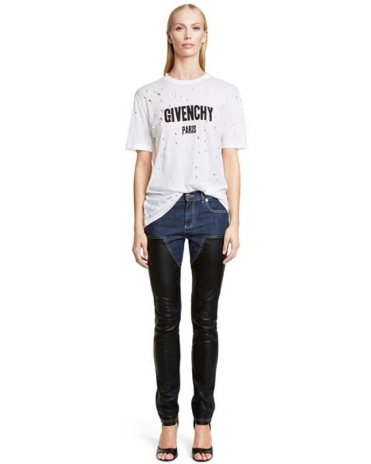 Givenchy | White Destroyed Cotton Tee | Lyst