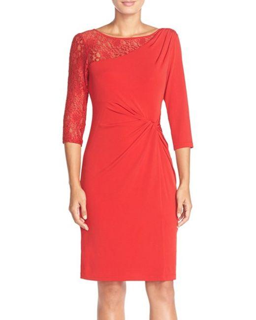 Ellen Tracy | Red Lace Sleeve Jersey Sheath Dress | Lyst