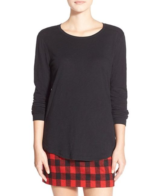 Madewell | Black Whisper Cotton Long Sleeve Crewneck Tee | Lyst
