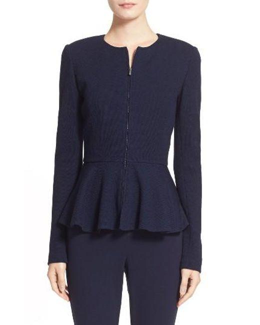 St. John | Blue Pique Milano Knit Jacket | Lyst