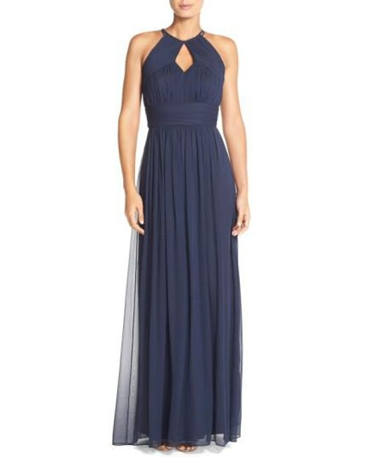 Dessy Collection | Blue Ruched Chiffon Keyhole Halter Gown | Lyst