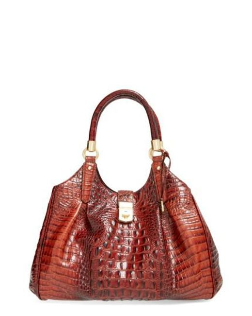 Brahmin - Brown 'elisa' Croc Embossed Leather Shoulder Bag - Lyst