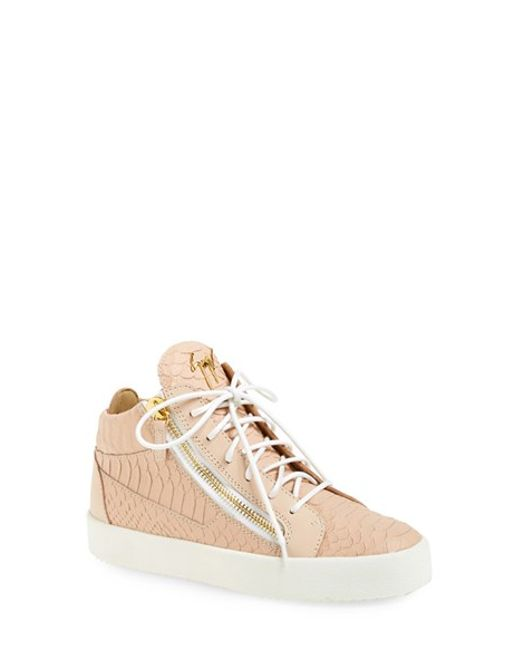 Giuseppe Zanotti | Pink Nicki Croc-Embossed High-Top Sneakers | Lyst