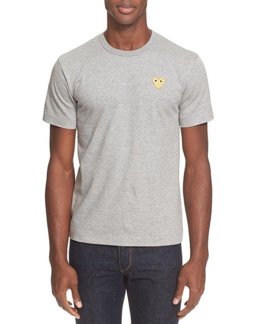 Comme des Garçons | Gray Play Crewneck T-shirt for Men | Lyst