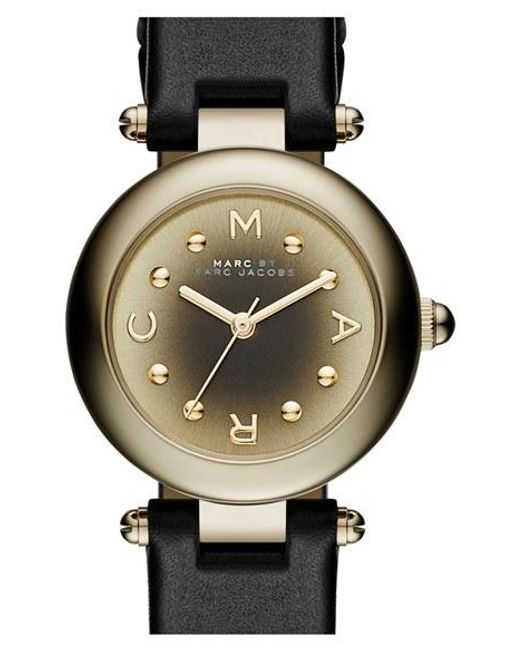 Marc Jacobs | Black 'dotty' Leather Strap Watch | Lyst