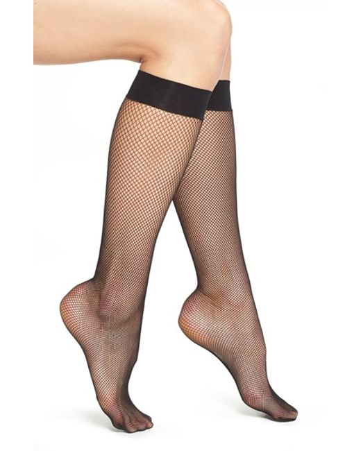 Wolford | Black 'twenties' Fishnet Knee High Socks | Lyst