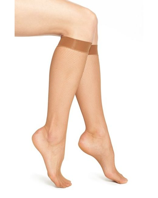 Wolford | Natural 'twenties' Fishnet Knee High Socks | Lyst