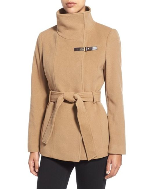 Cole Haan | Natural Faux Leather Trim Belted Asymmetrical Coat | Lyst