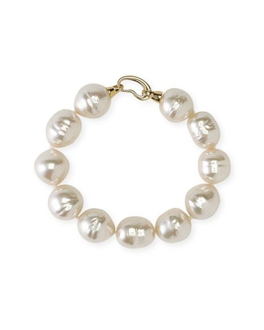 Majorica | White 14mm Baroque Pearl Single Row Bracelet | Lyst
