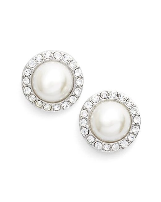 Givenchy | Metallic Pave Imitation Pearl Button Earrings | Lyst