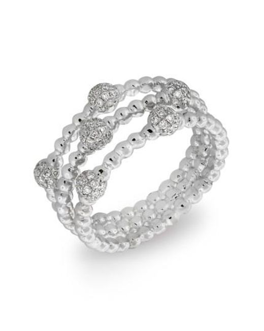 Bony Levy | White Pave Ball Bead Three-row Diamond Ring (nordstrom Exclusive) | Lyst