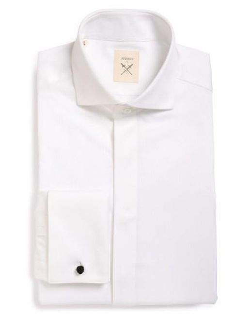 Strong Suit   White 'pique' Trim Fit Tuxedo Shirt for Men   Lyst
