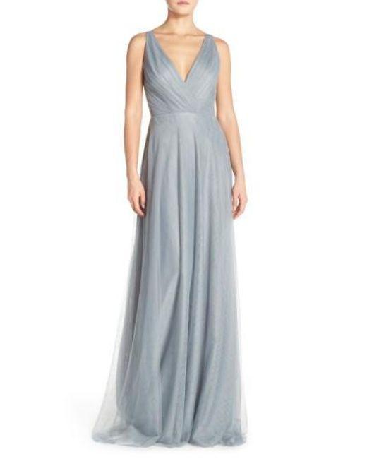 Monique Lhuillier Bridesmaids   Blue Back Cutout Pleat Tulle Gown   Lyst