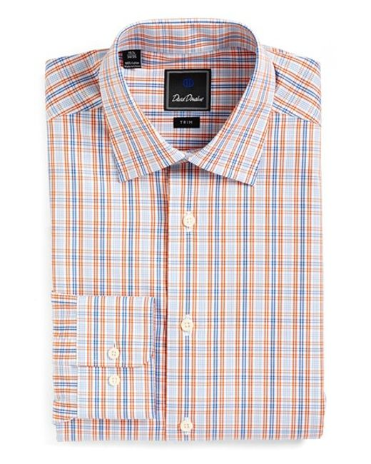 David Donahue Trim Fit Plaid Dress Shirt In Blue For Men