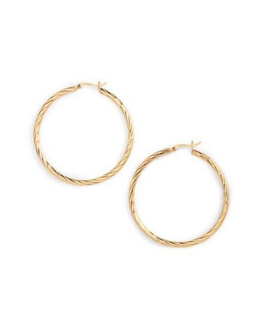 Argento Vivo   Metallic Textured Hoop Earrings   Lyst