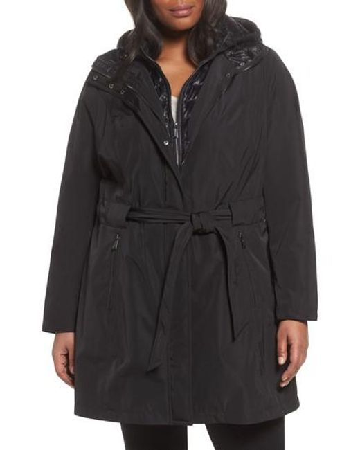 Laundry by Shelli Segal | Black Water Resistant Hooded Coat With Puffer Bib Inset | Lyst