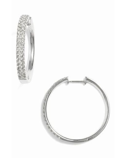 Bony Levy Metallic Kiera Medium Diamond Hoop Earrings Nordstrom Exclusive Lyst