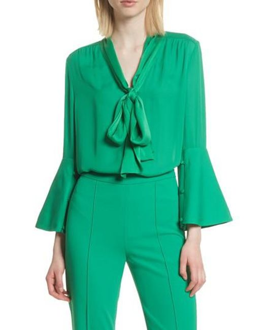 Alice + Olivia - Green Meredith Tie Neck Silk Blouse - Lyst