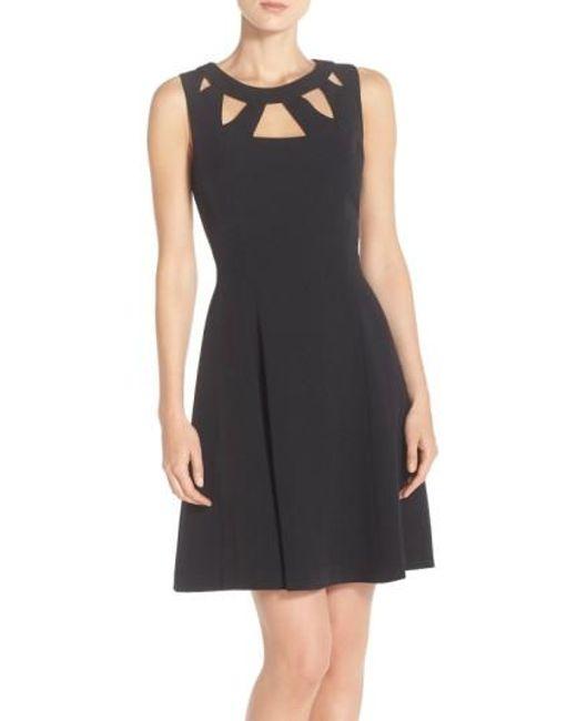 Eliza J   Black Cut-Out Crepe Dress   Lyst