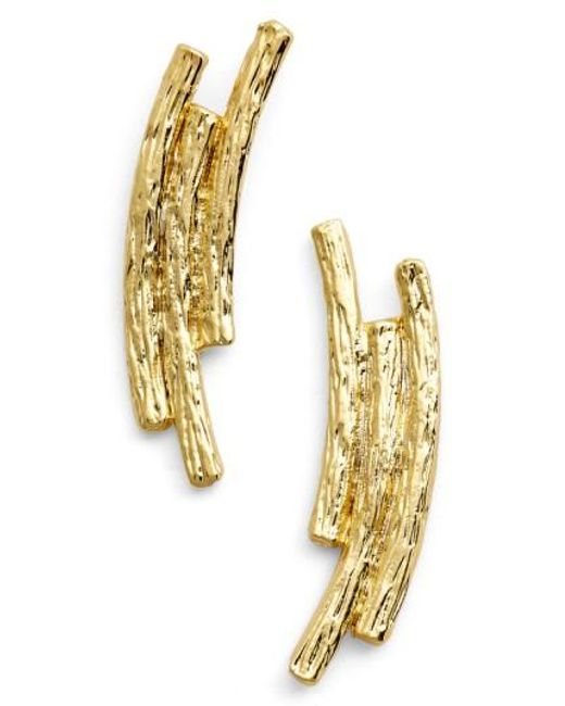 Karine Sultan | Metallic Three Row Drop Earrings | Lyst