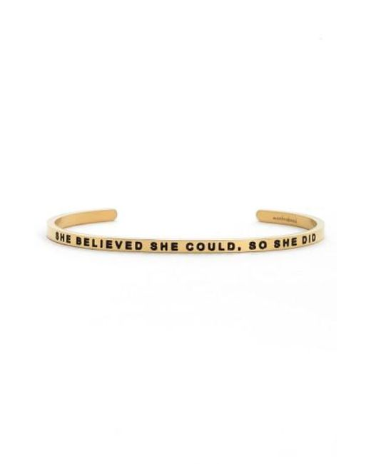 Mantraband   Metallic 'she Believed She Could' Cuff   Lyst