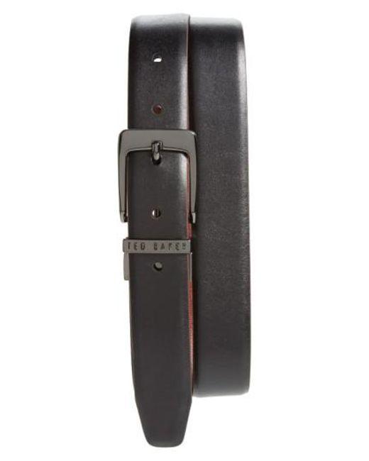 Ted Baker   Black 'lizlow' Reversible Leather Belt for Men   Lyst