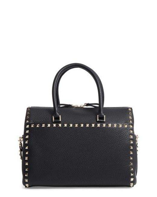 Valentino | Black Rockstud Leather Duffel Bag | Lyst
