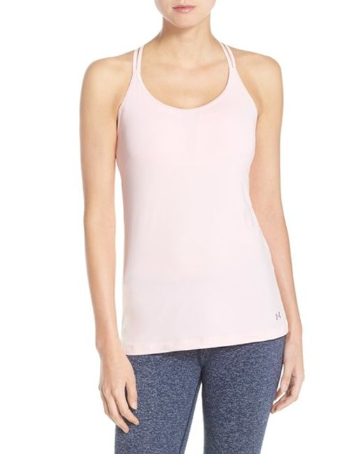 Under Armour Mesh Inset Racerback Tank In Pink Lyst
