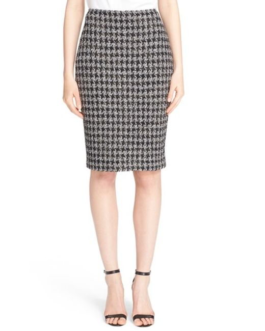 st anissa houndstooth knit pencil skirt in gray lyst