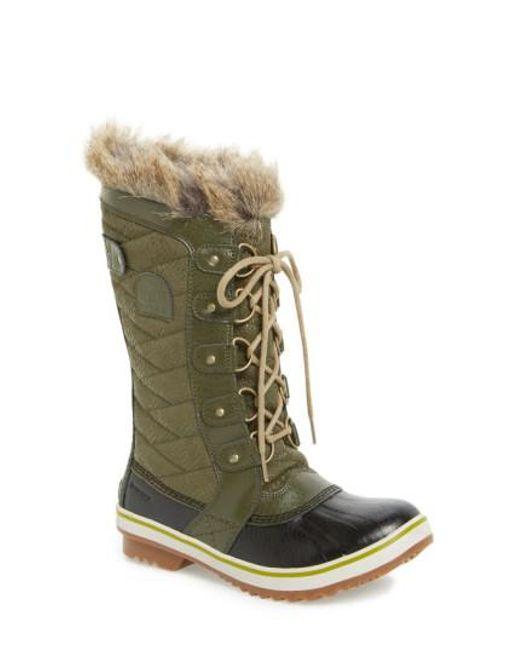 Sorel | Green 'tofino Ii' Faux Fur Lined Waterproof Boot | Lyst