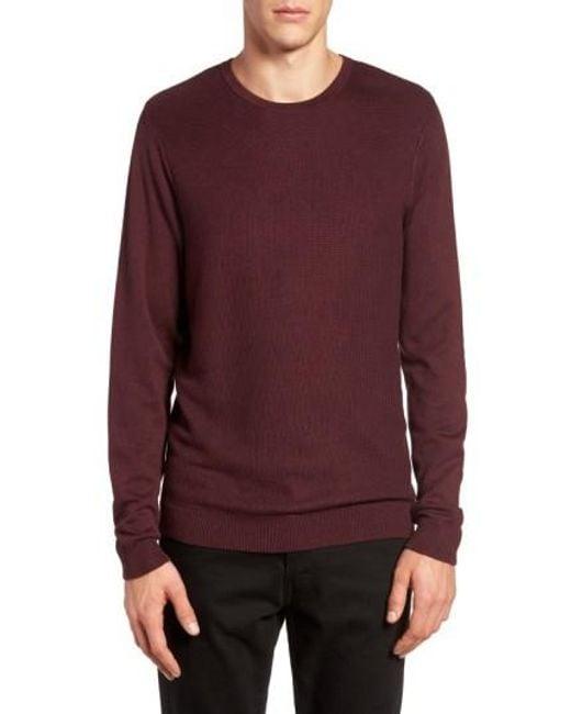 Calibrate   Purple Honeycomb Stitch Crewneck Sweater for Men   Lyst