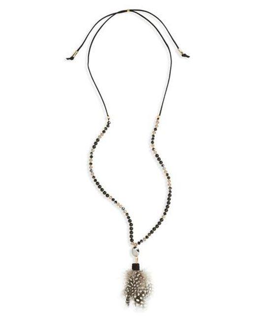 Panacea | Black Feather Pendant Necklace | Lyst