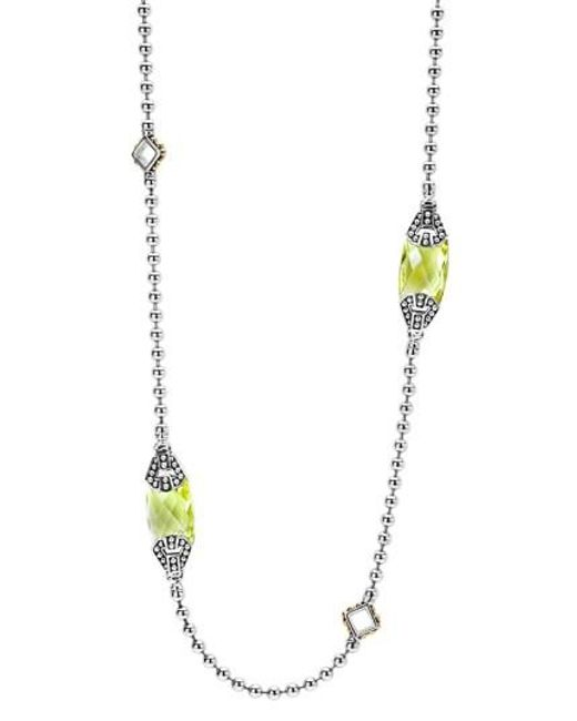 Lagos | Green 'caviar Color' Long Semiprecious Stone Station Necklace | Lyst