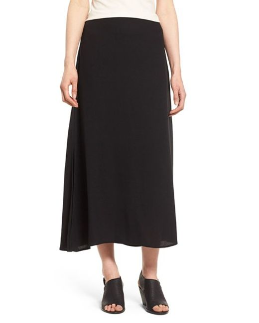 eileen fisher a line silk maxi skirt in black lyst
