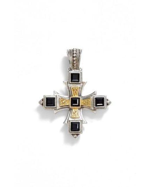 Konstantino | Metallic 'orpheus' Square Semiprecious Stone Cross Pendant | Lyst