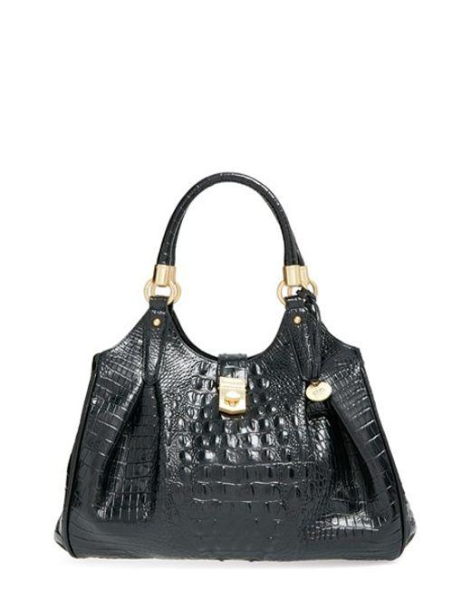 Brahmin | Black 'elisa' Croc Embossed Leather Shoulder Bag | Lyst