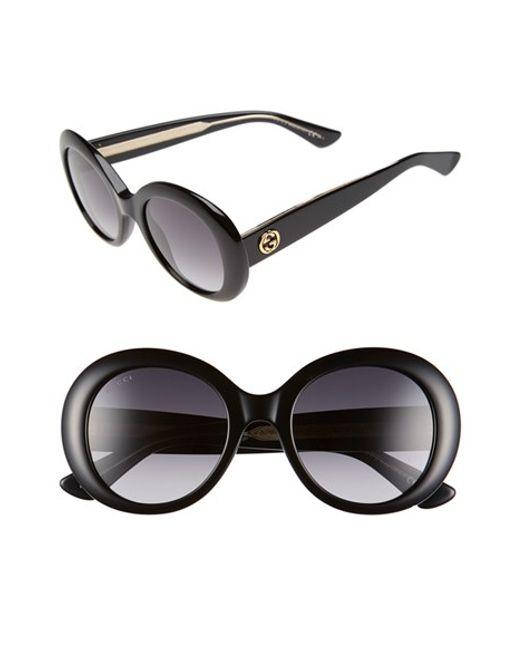 3a91102beb Gucci 51mm Round Sunglasses in Multicolor (BLACK  BLACK CRYSTAL)
