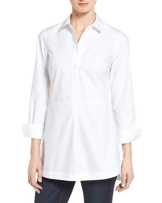foxcroft non iron long sleeved cotton tunic shirt in white