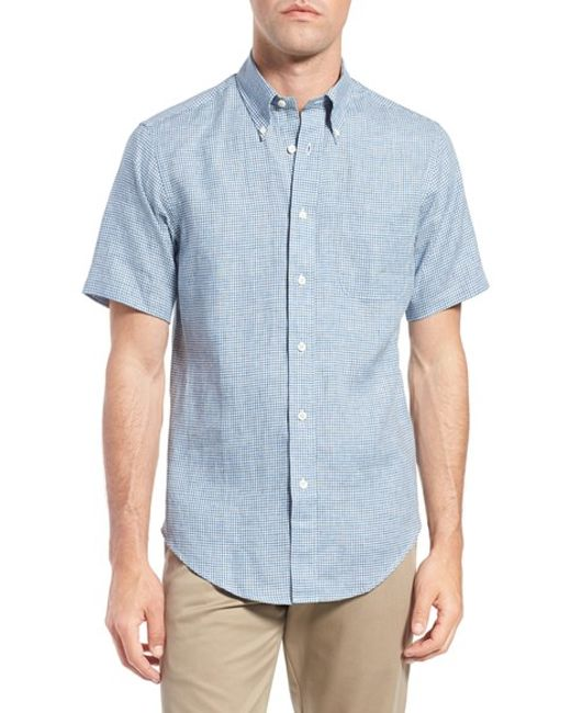 Brooks brothers regent fit short sleeve check linen sport for Brooks brothers tall shirts