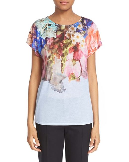 Ted baker andriah floral print jersey t shirt in for Ted baker floral print shirt