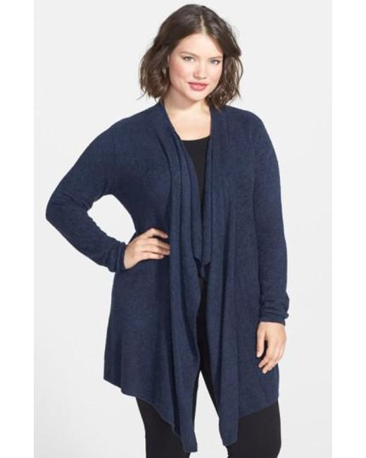 Barefoot Dreams | Blue Barefoot Dreams Drape Front Cardigan | Lyst