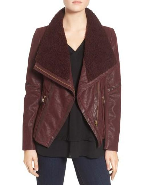 Guess | Brown Faux Leather Moto Jacket With Faux Fur Trim | Lyst