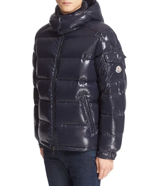 Moncler Maya Lacquered Down Jacket In Blue For Men Lyst