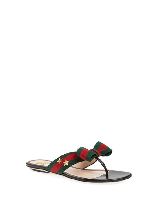 Gucci | Green Aline Grosgrain Web Thong Sandals | Lyst