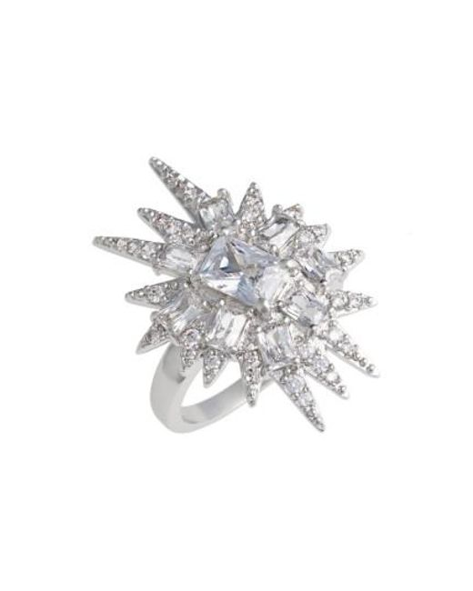 CZ by Kenneth Jay Lane | Metallic 'explosion' Cubic Zirconia Cocktail Ring | Lyst
