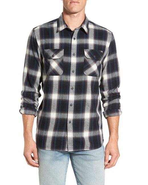 rip curl 39 zarco 39 trim fit plaid flannel shirt in black for men lyst. Black Bedroom Furniture Sets. Home Design Ideas