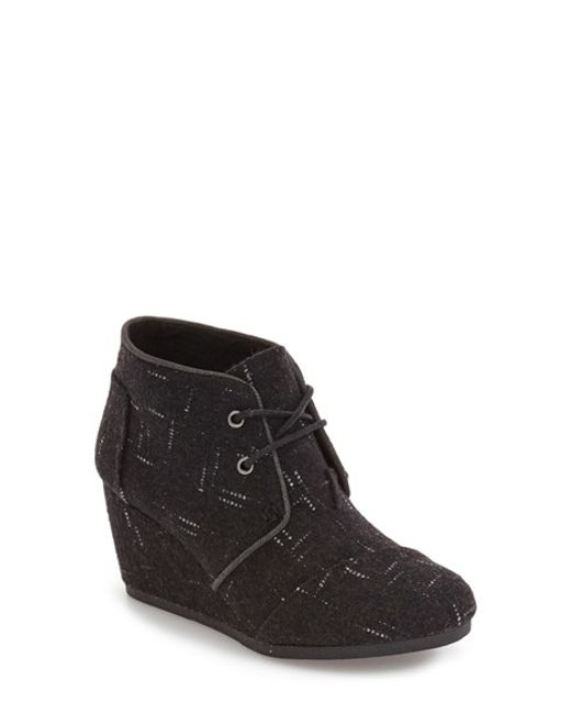 TOMS | Black 'desert - Dot' Wedge Bootie | Lyst