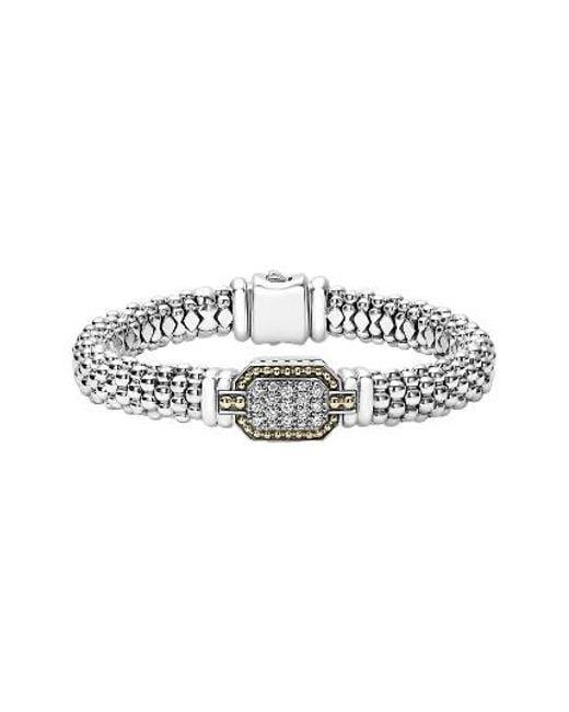 Lagos   Metallic Diamonds & Caviar Large Diamond Bracelet   Lyst